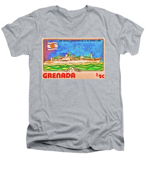 S.s Geestland And House Flag Geest Line Men's V-Neck T-Shirt by Lanjee Chee