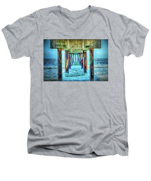 Men's V-Neck T-Shirt featuring the photograph St. Augustine Beach by Louis Ferreira