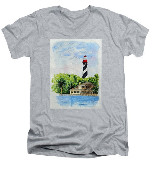 Men's V-Neck T-Shirt featuring the painting St Augustine Lighthouse  by Terri Mills