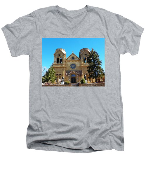 Men's V-Neck T-Shirt featuring the photograph St. Francis Cathedral Santa Fe Nm by Joseph Frank Baraba