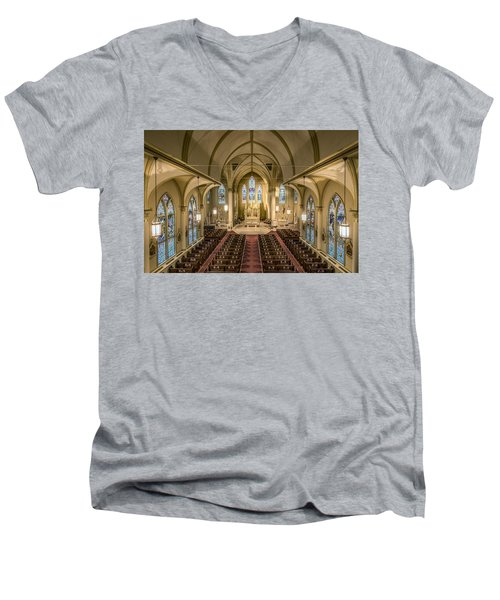 St. Francis Xavier Cathedral Men's V-Neck T-Shirt by Andy Crawford