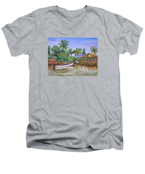 St. George Harbor Men's V-Neck T-Shirt by Patricia Piffath