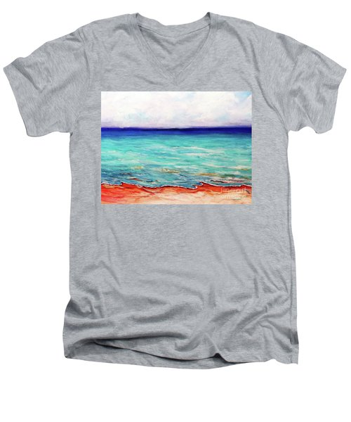 Men's V-Neck T-Shirt featuring the painting St. George Island Breeze by Ecinja Art Works