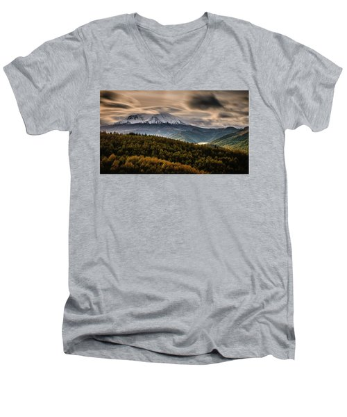 Men's V-Neck T-Shirt featuring the photograph St. Helens Wrath by Dan Mihai
