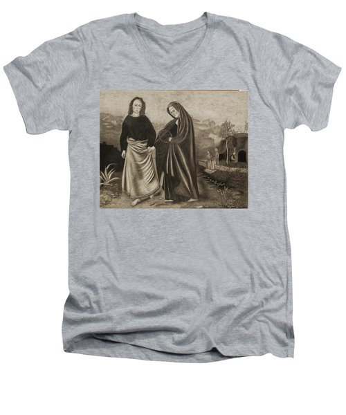 St. John And Blessed Mother At The Tomb Men's V-Neck T-Shirt