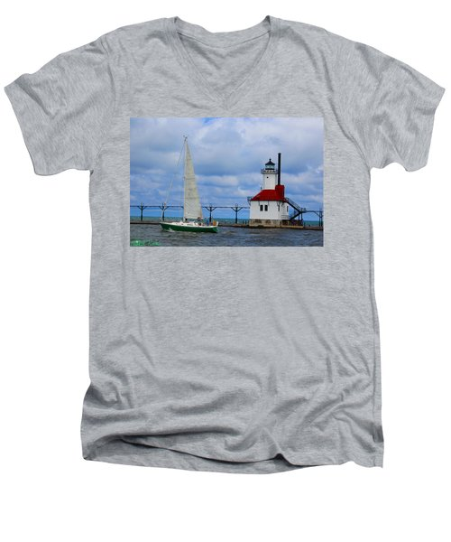 St. Joseph Lighthouse Sailboat Men's V-Neck T-Shirt