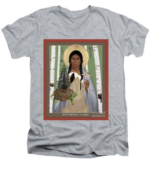 St. Kateri Tekakwitha Of The Iroquois - Rlktk Men's V-Neck T-Shirt