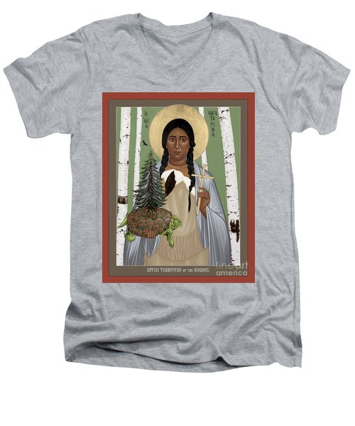 St. Kateri Tekakwitha Of The Iroquois - Rlktk Men's V-Neck T-Shirt