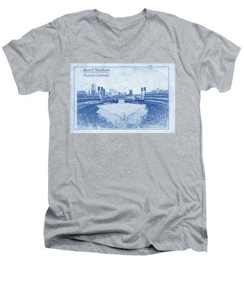 St. Louis Cardinals Busch Stadium Blueprint Words Men's V-Neck T-Shirt by David Haskett