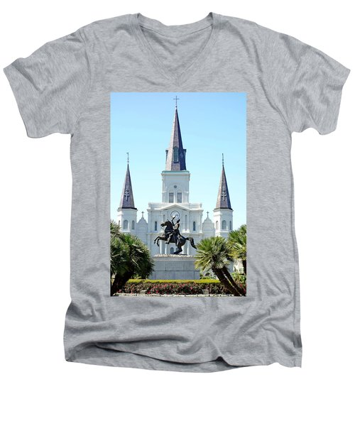 St. Louis Cathedral From Jackson Square Men's V-Neck T-Shirt