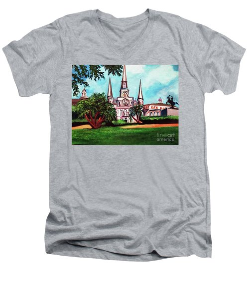 St. Louis Cathedral New Orleans Art Men's V-Neck T-Shirt by Ecinja Art Works