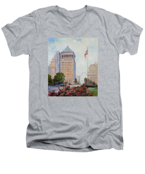 St. Louis Civil Court Building And Market Street Men's V-Neck T-Shirt