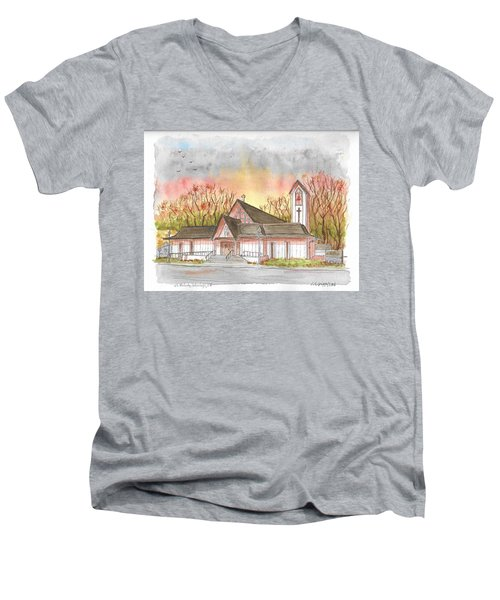St. Malachy Church, Tehachapi, California Men's V-Neck T-Shirt