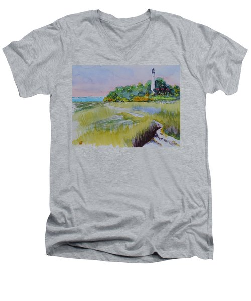St. Marks Lighthouse Beachfront Men's V-Neck T-Shirt