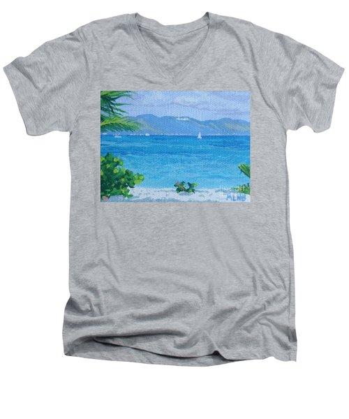 St Martin From Anguilla Men's V-Neck T-Shirt by Margaret Brooks