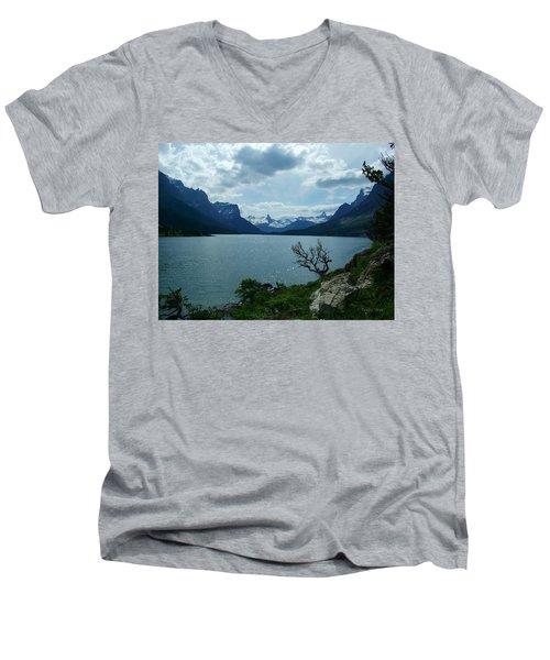 St Mary Lake, Incoming Storm Men's V-Neck T-Shirt