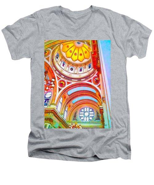 St. Mary Of The Angels 1 Men's V-Neck T-Shirt by Dave Luebbert