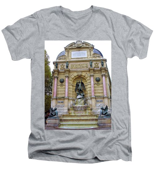 St. Michael's Fountain Men's V-Neck T-Shirt