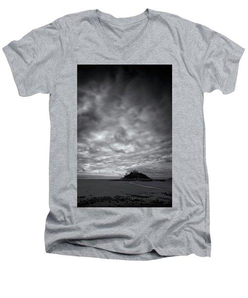 St Michael's Mount Men's V-Neck T-Shirt by Dominique Dubied