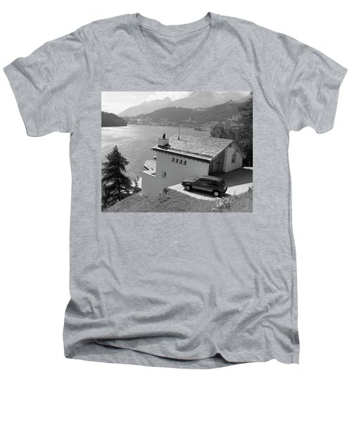 Men's V-Neck T-Shirt featuring the photograph St Moritz by Jim Mathis