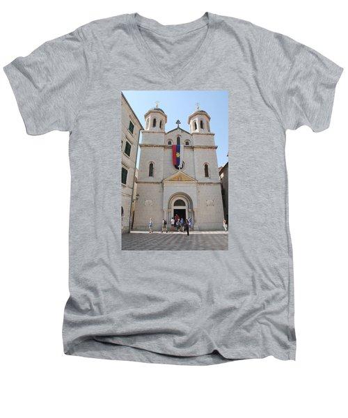 St Nicholas Kotor Men's V-Neck T-Shirt by Robert Moss