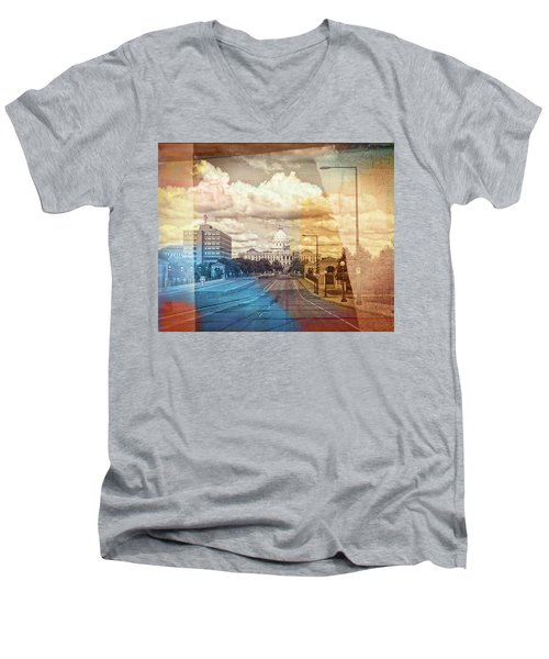 Men's V-Neck T-Shirt featuring the photograph St. Paul Capital Building by Susan Stone