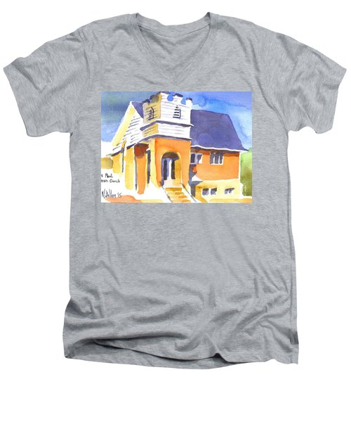 Men's V-Neck T-Shirt featuring the painting St. Paul Lutheran 3 Impressions by Kip DeVore