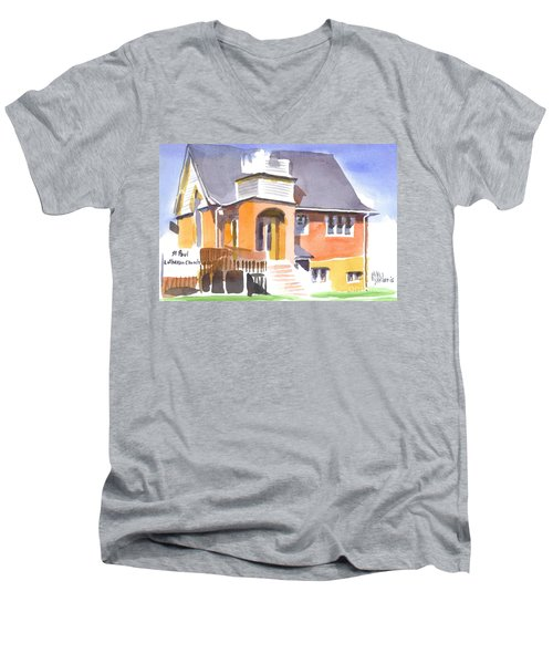 Men's V-Neck T-Shirt featuring the painting St Paul Lutheran In Watercolor 2 by Kip DeVore