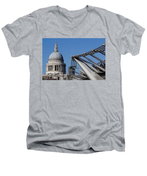 St Pauls Cathedral And The Millenium Bridge  Men's V-Neck T-Shirt