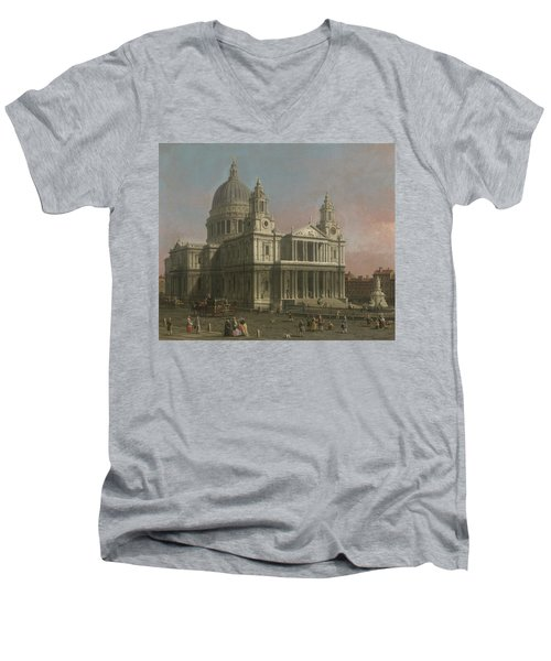 St. Paul's Cathedral Men's V-Neck T-Shirt by Giovanni Antonio Canaletto