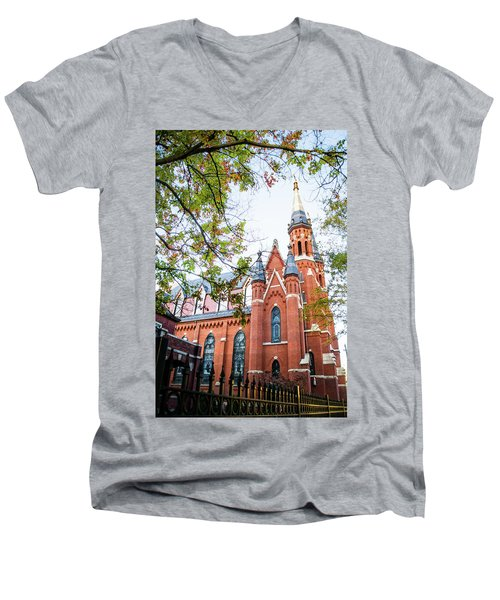 Men's V-Neck T-Shirt featuring the photograph St Paul's Cathedral In Downtown Birmingham by Shelby Young