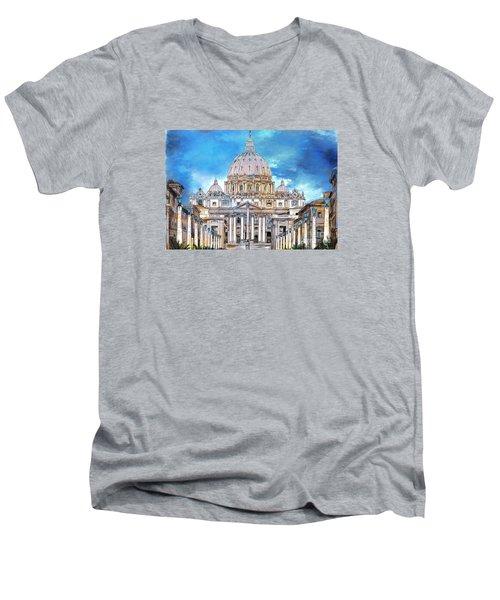 St. Peter's Basilica Men's V-Neck T-Shirt by Andrzej Szczerski