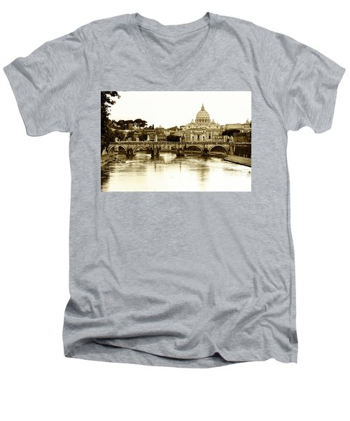 Men's V-Neck T-Shirt featuring the photograph St. Peters Basilica by Mircea Costina Photography
