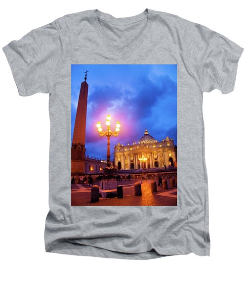 St. Peters Cathedral At Night Men's V-Neck T-Shirt