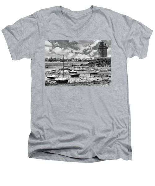Men's V-Neck T-Shirt featuring the photograph St. Servan Anse At Low Tide by Elf Evans