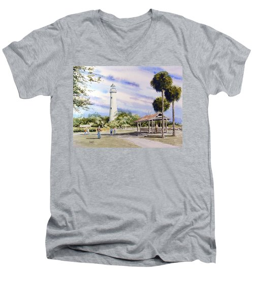 St. Simons Island Lighthouse Men's V-Neck T-Shirt by Sam Sidders