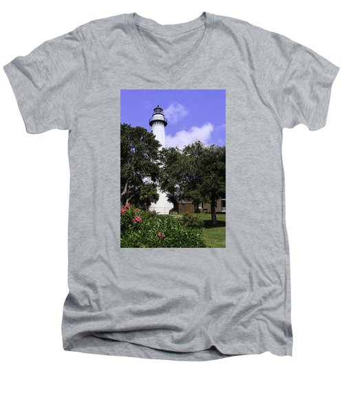 St Simons Isle Lighthouse Men's V-Neck T-Shirt by Elizabeth Eldridge