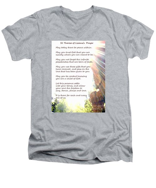 St Therese Of Lisieux Prayer And True Light Lower Emerald Pools Zion Men's V-Neck T-Shirt