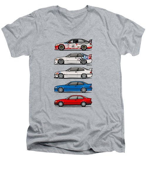Stack Of Bmw 3 Series E36 Coupes Men's V-Neck T-Shirt