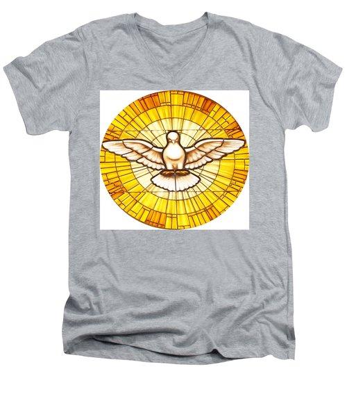 Stain Glass Dove Men's V-Neck T-Shirt by Joseph Frank Baraba