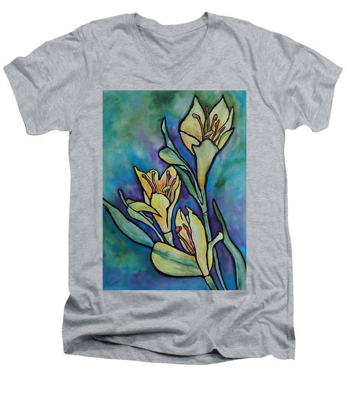 Stained Glass Flowers Men's V-Neck T-Shirt