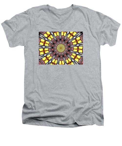 Men's V-Neck T-Shirt featuring the photograph Stained Glass Kaleidoscope 23 by Rose Santuci-Sofranko