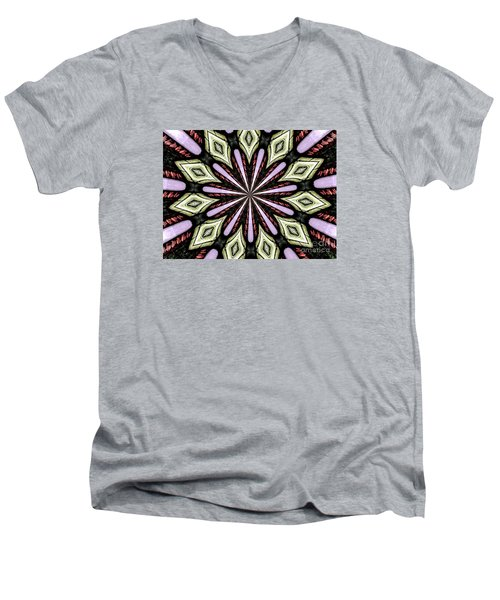 Men's V-Neck T-Shirt featuring the photograph Stained Glass Kaleidoscope 25 by Rose Santuci-Sofranko