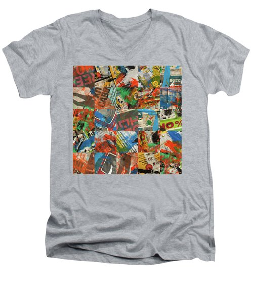 Stained Newspaper Pages Men's V-Neck T-Shirt