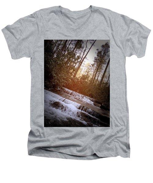 Stair Step Falls Table Rock South Carolina Men's V-Neck T-Shirt by Kelly Hazel