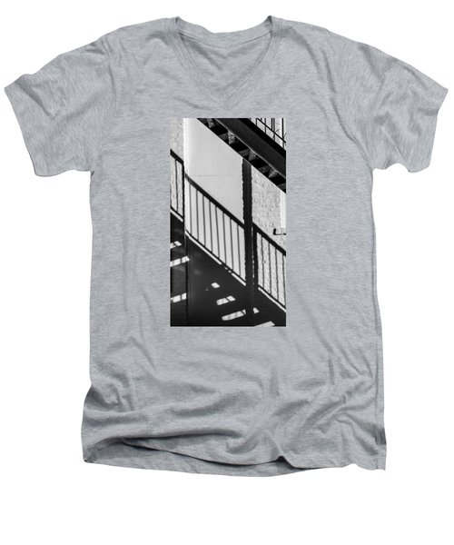 Men's V-Neck T-Shirt featuring the photograph Stairs Railings And Shadows by Gary Slawsky