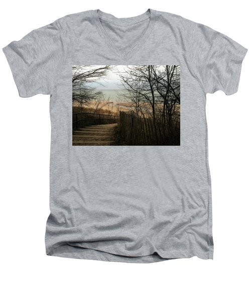 Men's V-Neck T-Shirt featuring the photograph Stairs To The Beach In Winter by Michelle Calkins