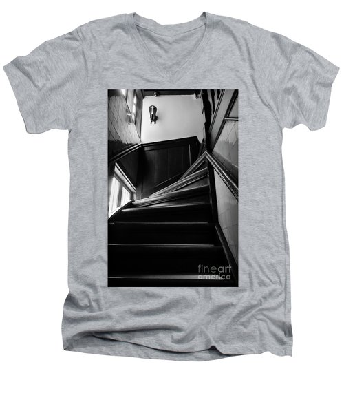 Men's V-Neck T-Shirt featuring the photograph Stairway In Amsterdam Bw by RicardMN Photography