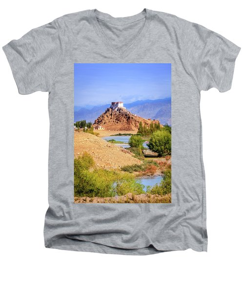 Men's V-Neck T-Shirt featuring the photograph Stakna Monastery by Alexey Stiop