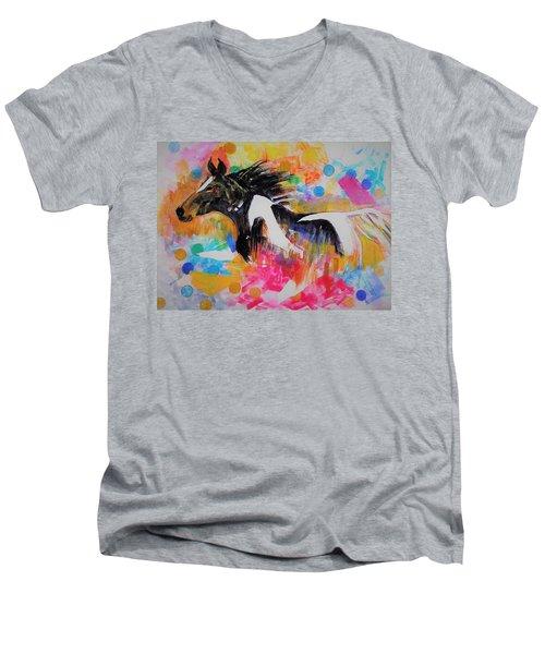 Stallion In Abstract Men's V-Neck T-Shirt
